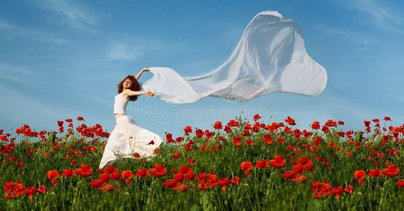 Mulher da beleza no campo da papoila com tecido imagem de stock