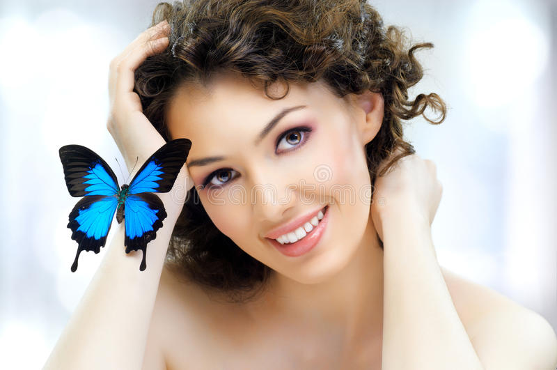 Mulher da borboleta fotos de stock royalty free