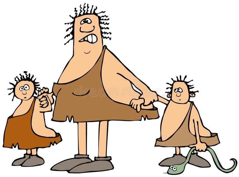 Mulher da caverna e duas crianças ilustração do vetor