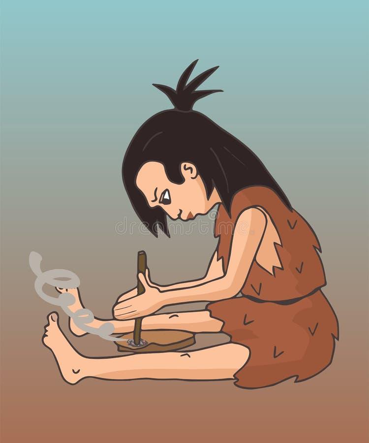 Mulher da caverna que faz desenhos animados do fogo ilustração do vetor