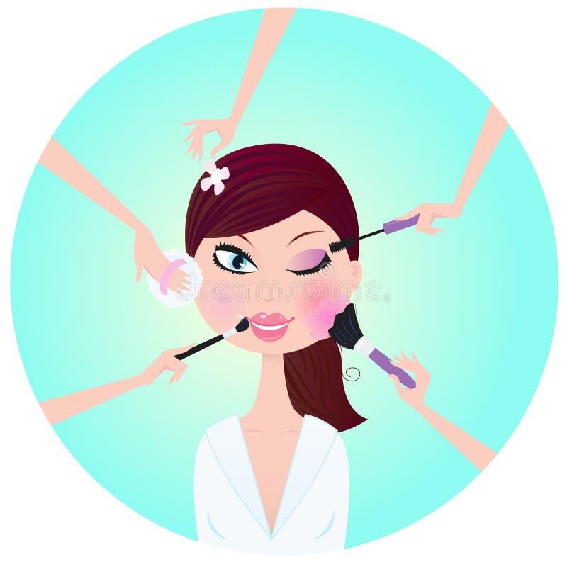 Mulher da composição - serviços faciais do tratamento ilustração royalty free