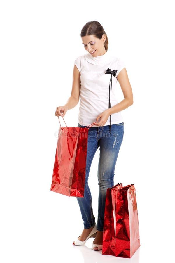 Download Mulher da compra imagem de stock. Imagem de menina, saco - 12805673