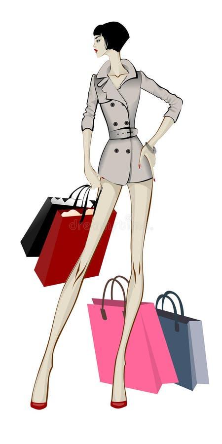 Mulher da compra na trincheira cinzenta com pacotes ilustração royalty free