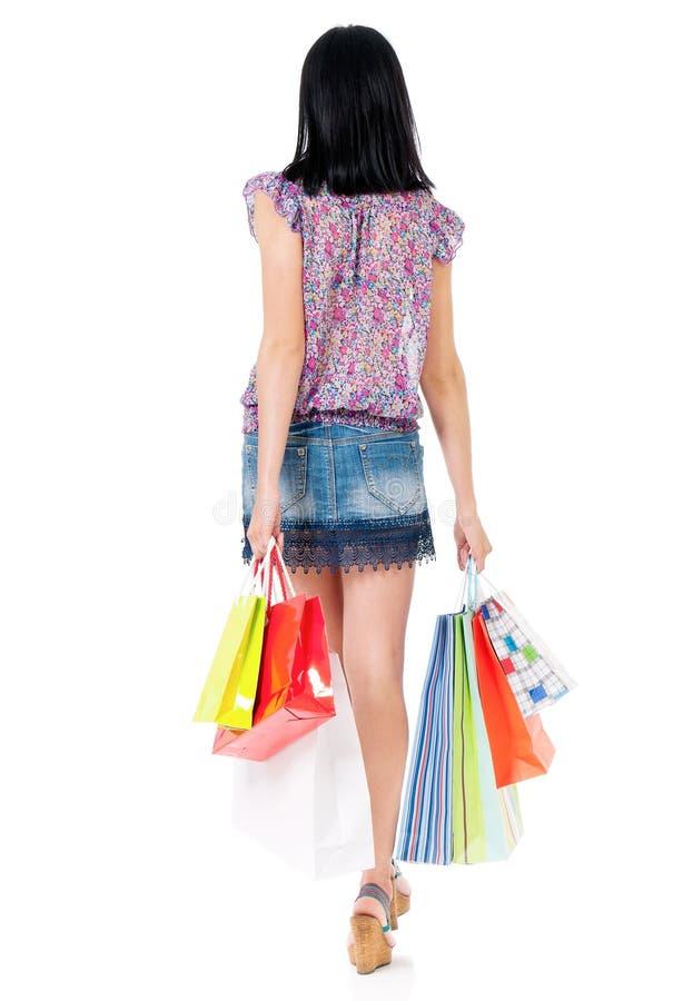 Mulher da compra no branco foto de stock royalty free