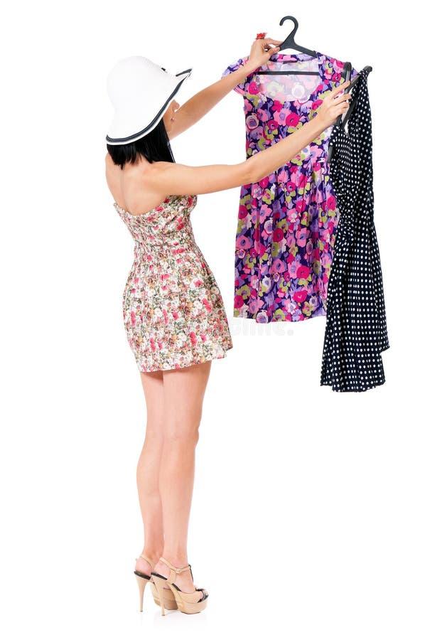 Mulher da compra no branco fotografia de stock