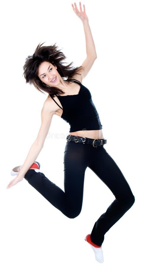Mulher da dança com cabelo longo marrom fotos de stock