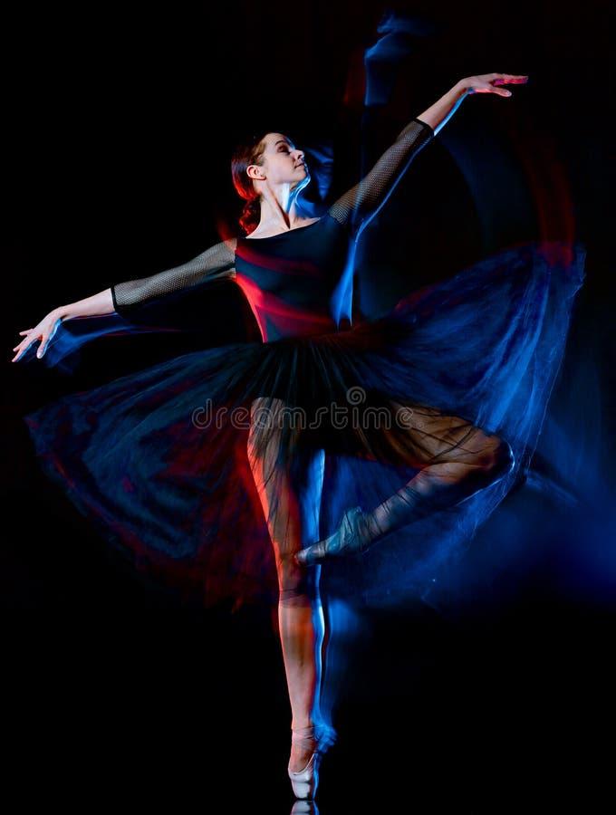 A mulher da dança do dançarino do balé clássico da bailarina isolou b preto foto de stock royalty free