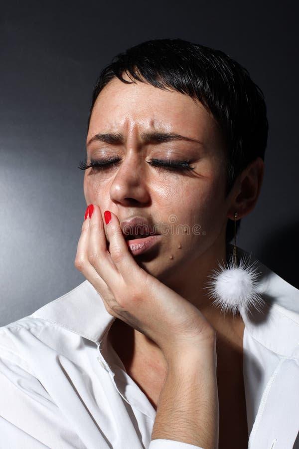 Mulher da depressão com rasgos imagem de stock