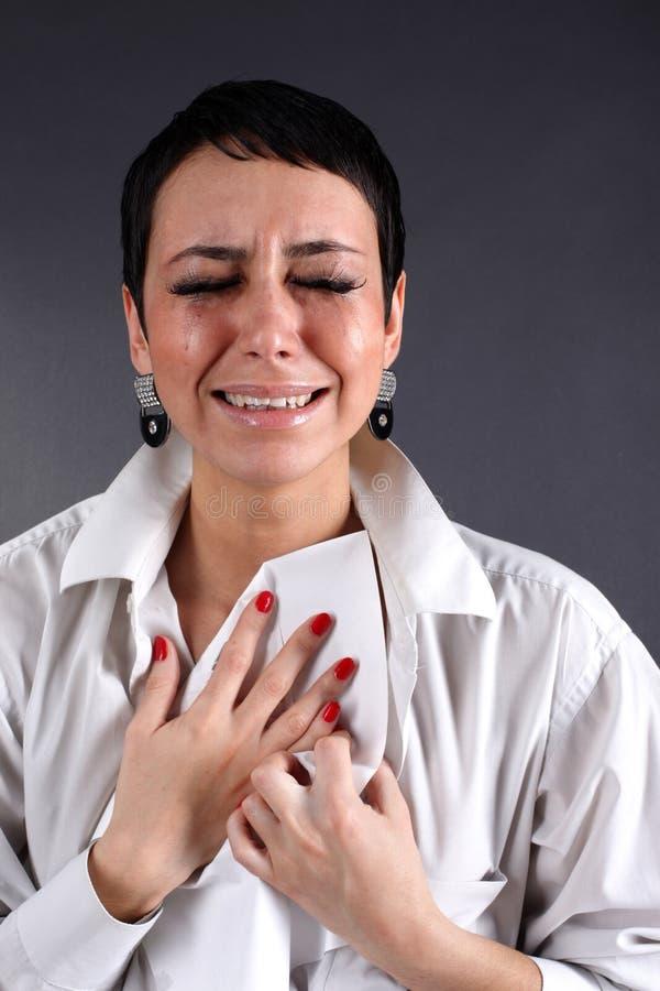 Mulher da depressão com rasgos fotografia de stock