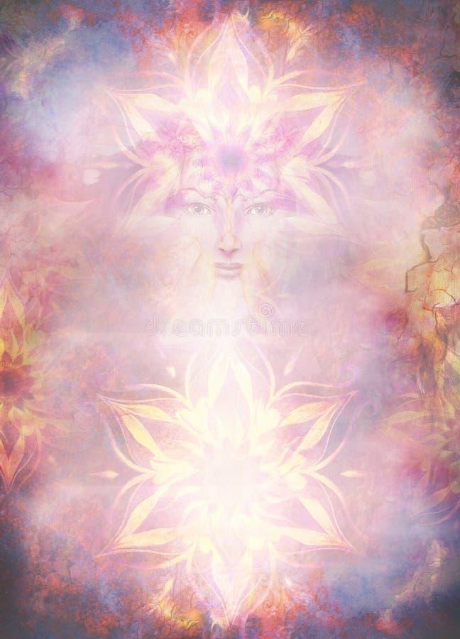 A mulher da deusa da pintura bonita com mandala decorativa e o fundo e o deserto abstratos da cor crepitam ilustração do vetor