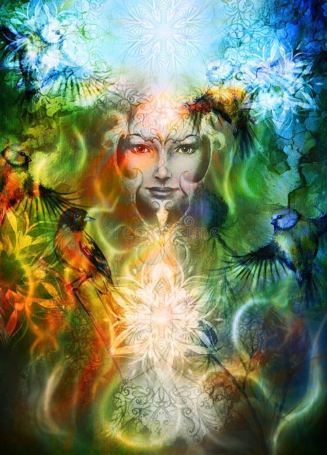 Mulher da deusa da pintura bonita com pássaro e ilustração royalty free