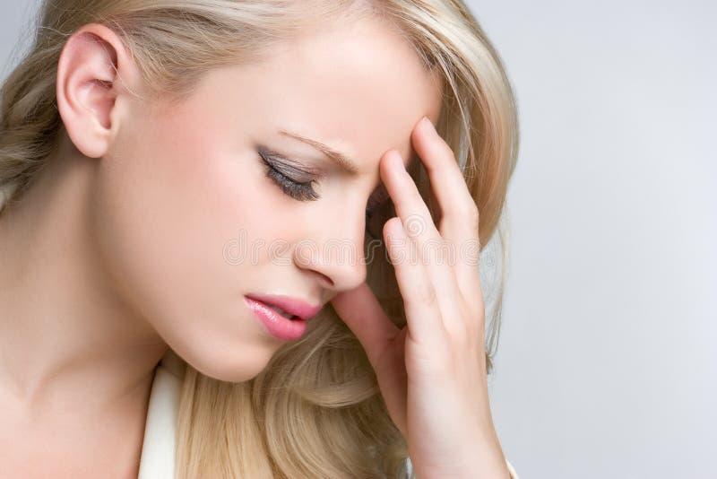 Mulher da dor de cabeça fotos de stock royalty free