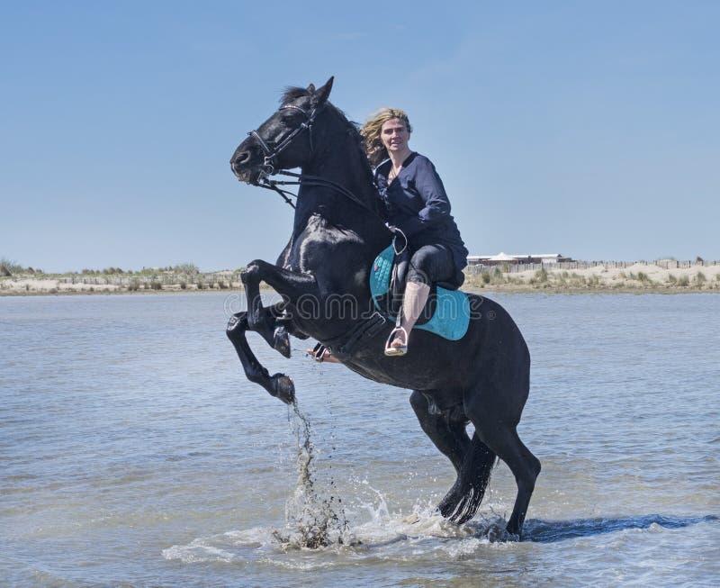 Mulher da equitação na praia fotos de stock royalty free