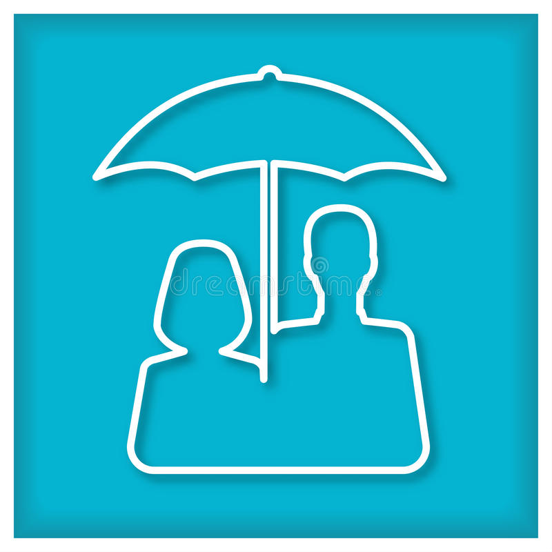 Mulher da extremidade do homem sob o guarda-chuva ícone ilustração stock