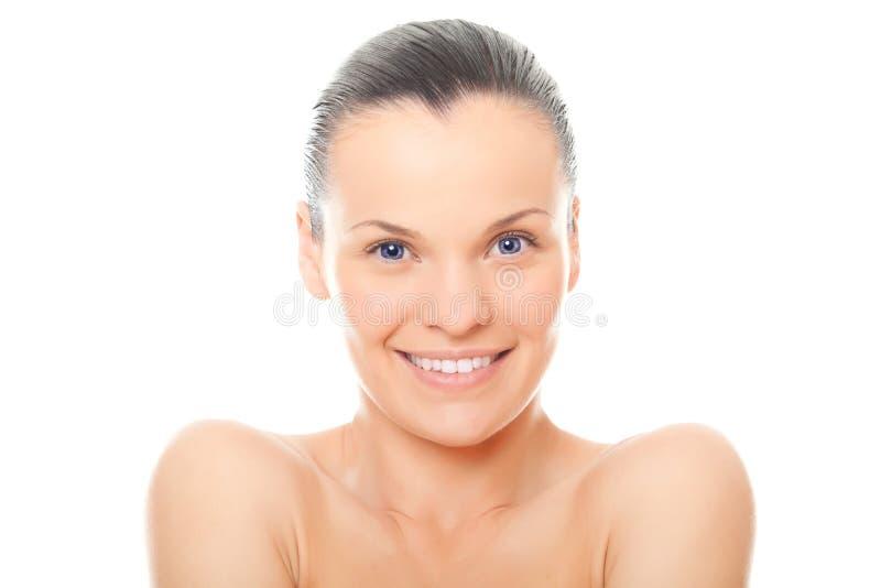 Mulher da face do close up com pele limpa saudável imagens de stock royalty free