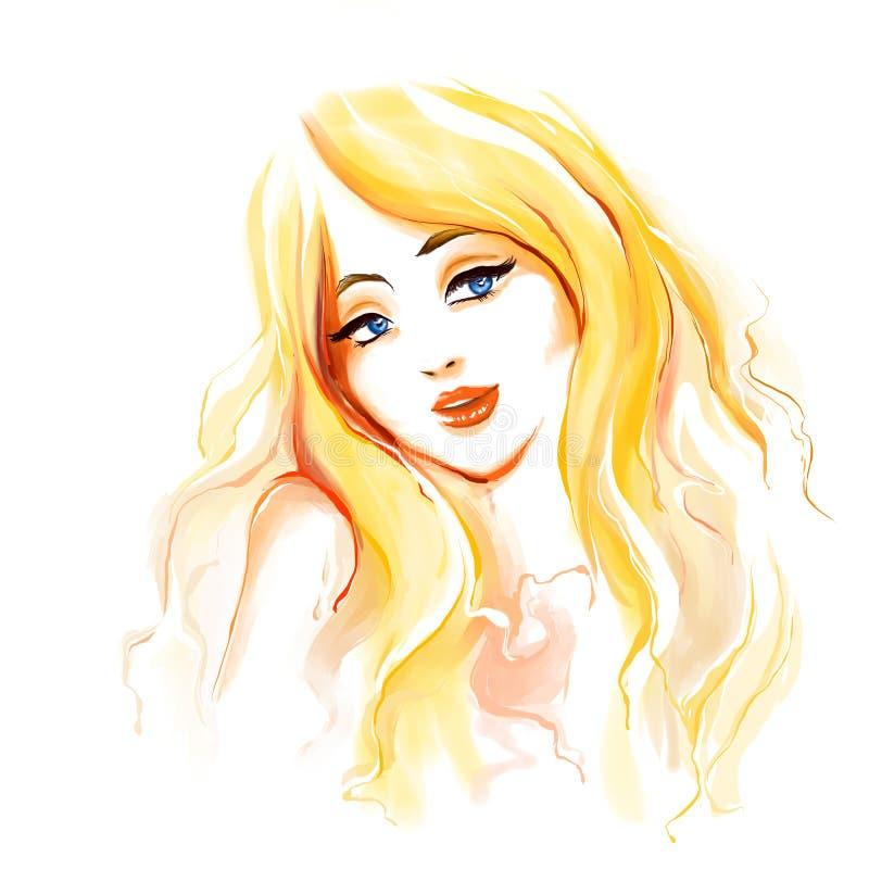 Mulher da forma com cabelo louro longo ilustração stock