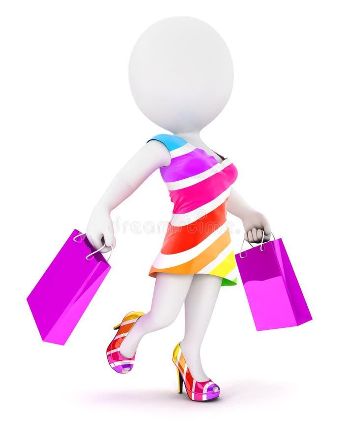 mulher da forma dos povos 3d brancos com sacos de compras ilustração royalty free