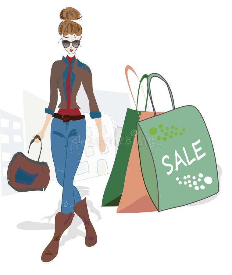 Mulher da forma na compra ilustração stock