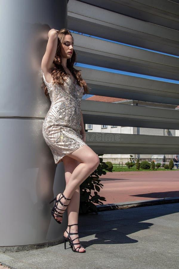 Mulher da forma no vestido foto de stock
