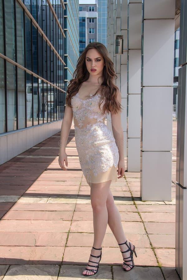 Mulher da forma no vestido fotografia de stock