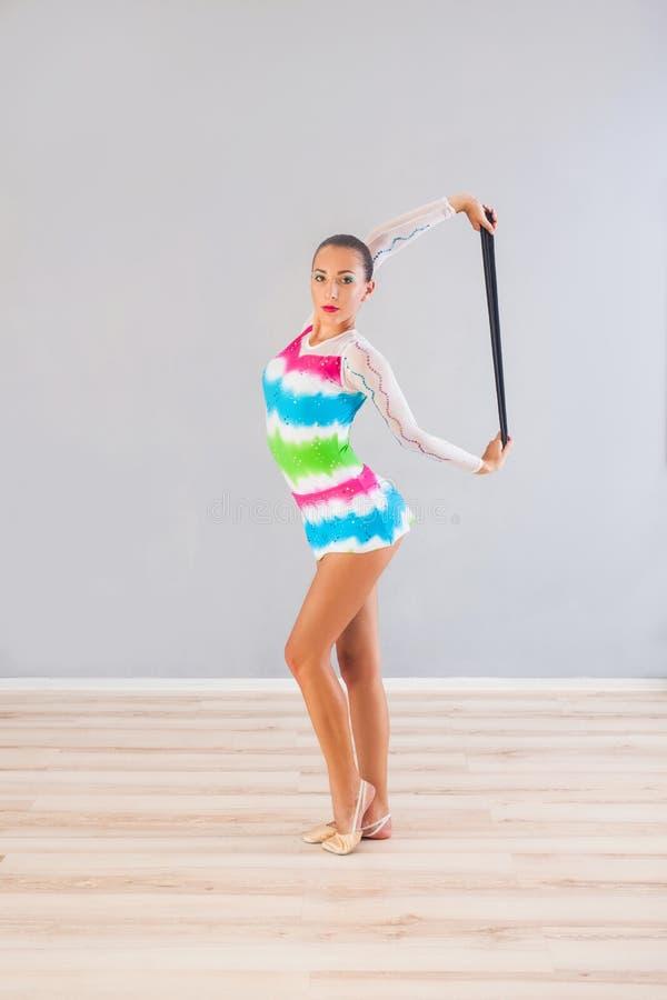 Mulher da ginasta com corda imagens de stock