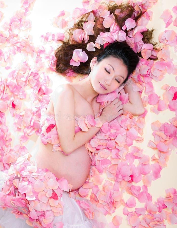 Mulher da gravidez no mar das flores fotografia de stock