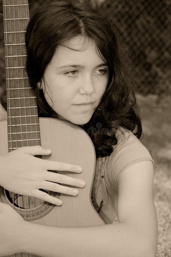 mulher da guitarra fotos de stock