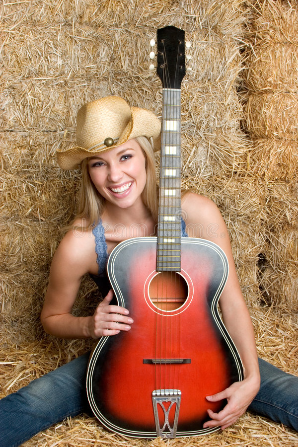 Mulher da guitarra foto de stock