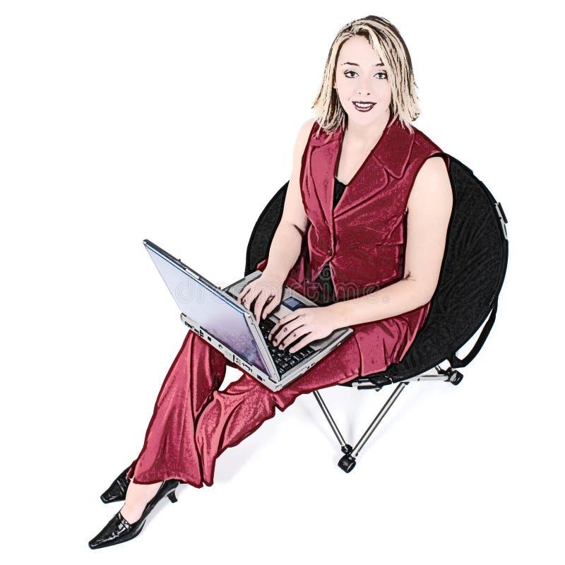 Download Mulher Da Ilustração No Vermelho Com O Portátil Na Cadeira Preta Ilustração Stock - Ilustração de americano, ilustração: 107610