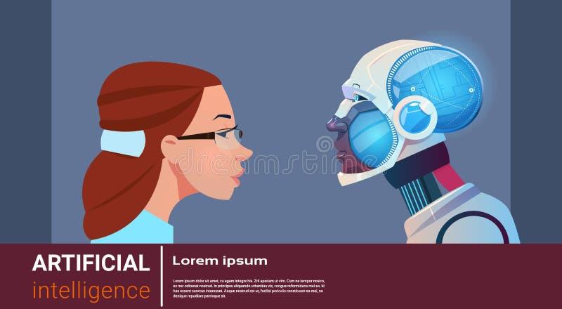 Mulher da inteligência artificial com robô moderno Brain Technology ilustração do vetor