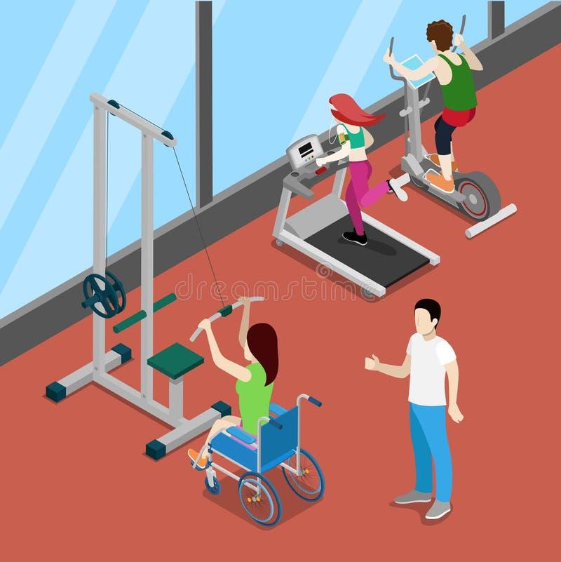 Mulher da inutilização na cadeira de rodas que exercita no Gym Povos isométricos da inabilidade ilustração do vetor