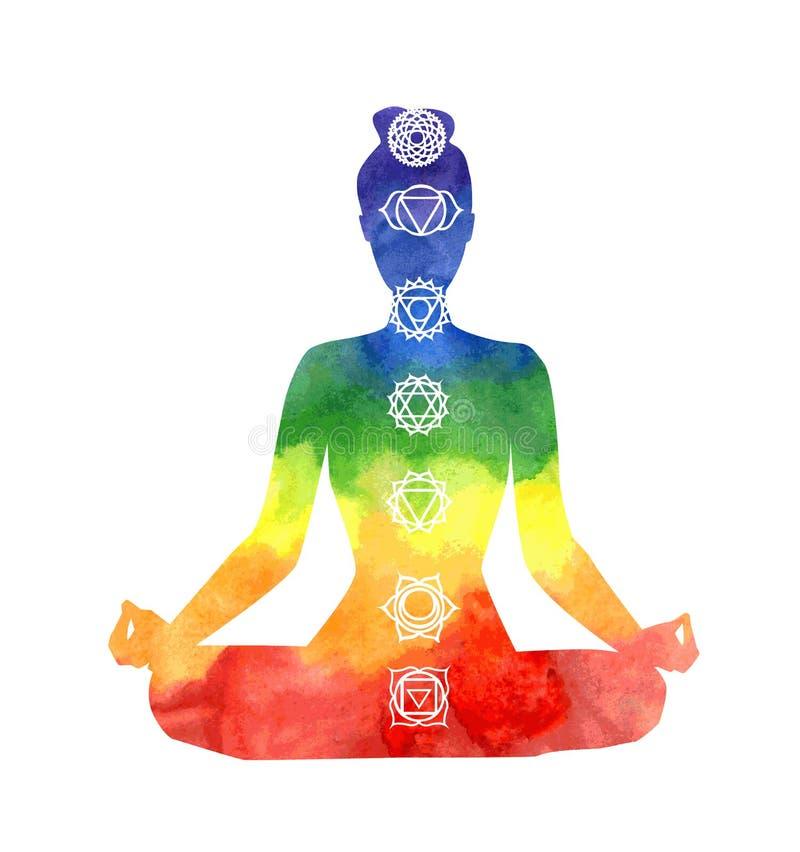 Mulher da ioga com símbolos do chakra ilustração royalty free