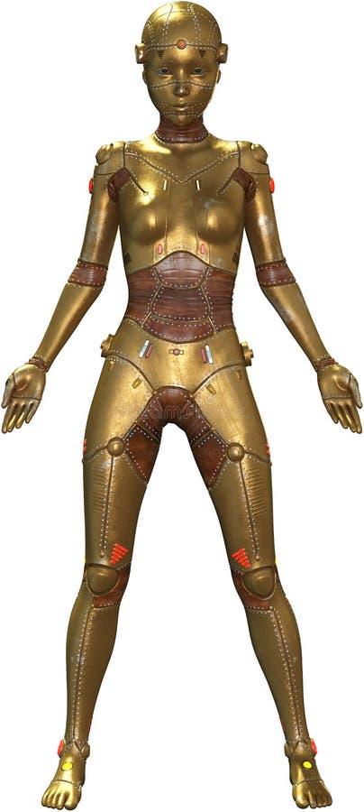 A mulher da máquina do robô do metal, isolou-se ilustração do vetor