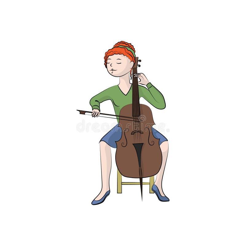A mulher da menina joga o violoncelo Ilustração de cor do vetor ilustração royalty free