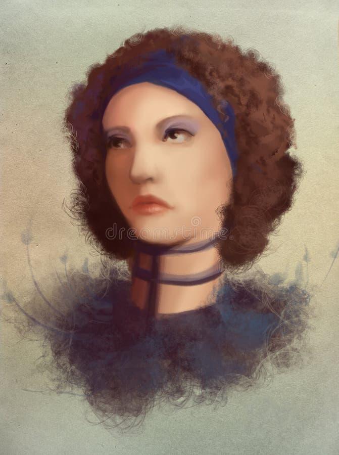 Mulher da onda dos jovens no retrato do colar ilustração stock