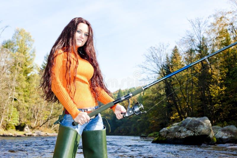 Mulher da pesca foto de stock