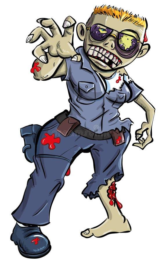 Mulher da polícia do zombi dos desenhos animados ilustração royalty free