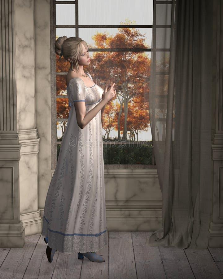 Mulher da regência que está por uma janela ilustração stock