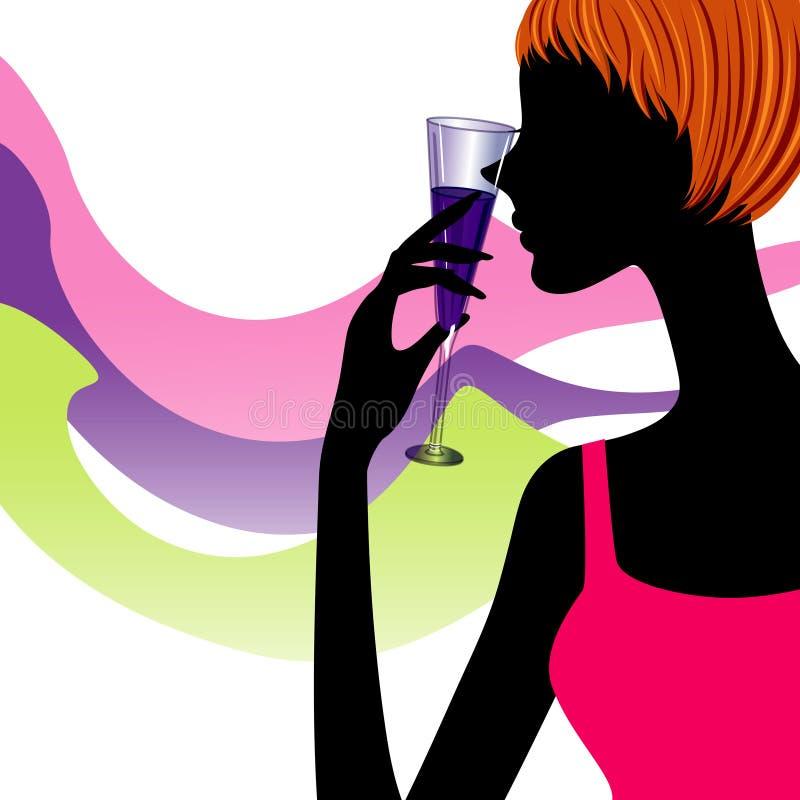 Mulher da silhueta com um vidro do vinho ilustração do vetor