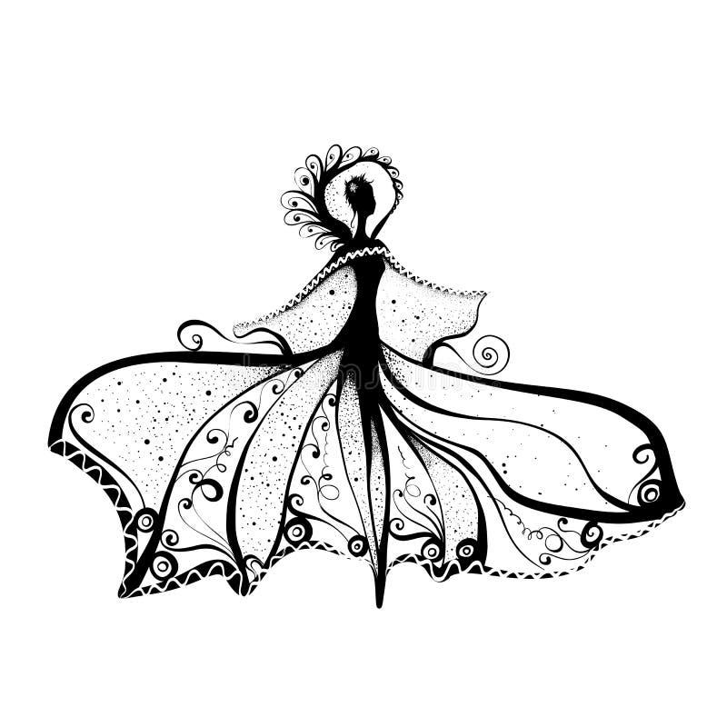 Mulher da tinta ilustração royalty free