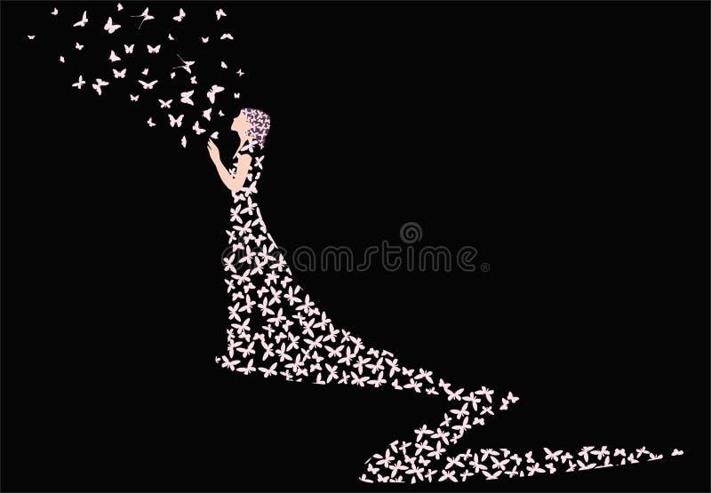 Mulher das borboletas no fundo preto ilustração stock