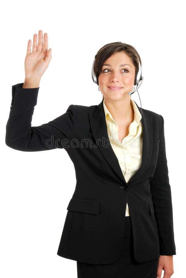 Mulher das telecomunicações com sua mão levantada fotografia de stock royalty free