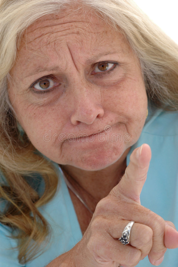 Mulher de advertência engraçada fotografia de stock