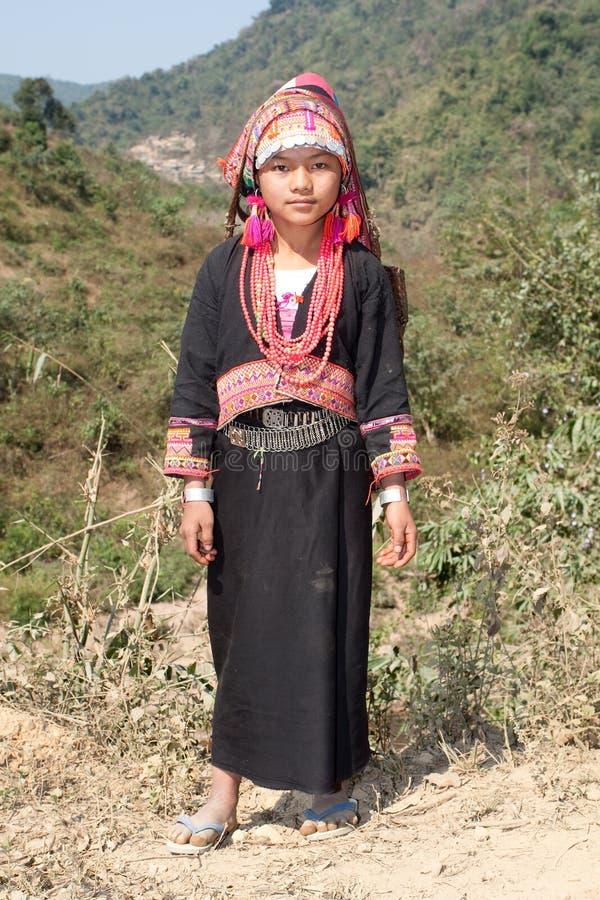 Mulher de Akha em Laos fotos de stock