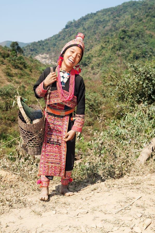Mulher de Akha em Laos fotos de stock royalty free