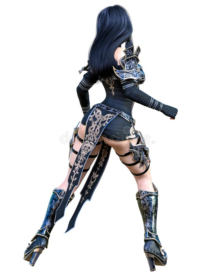 Mulher de amazon do guerreiro com a lâmina da espada e do metal ilustração royalty free