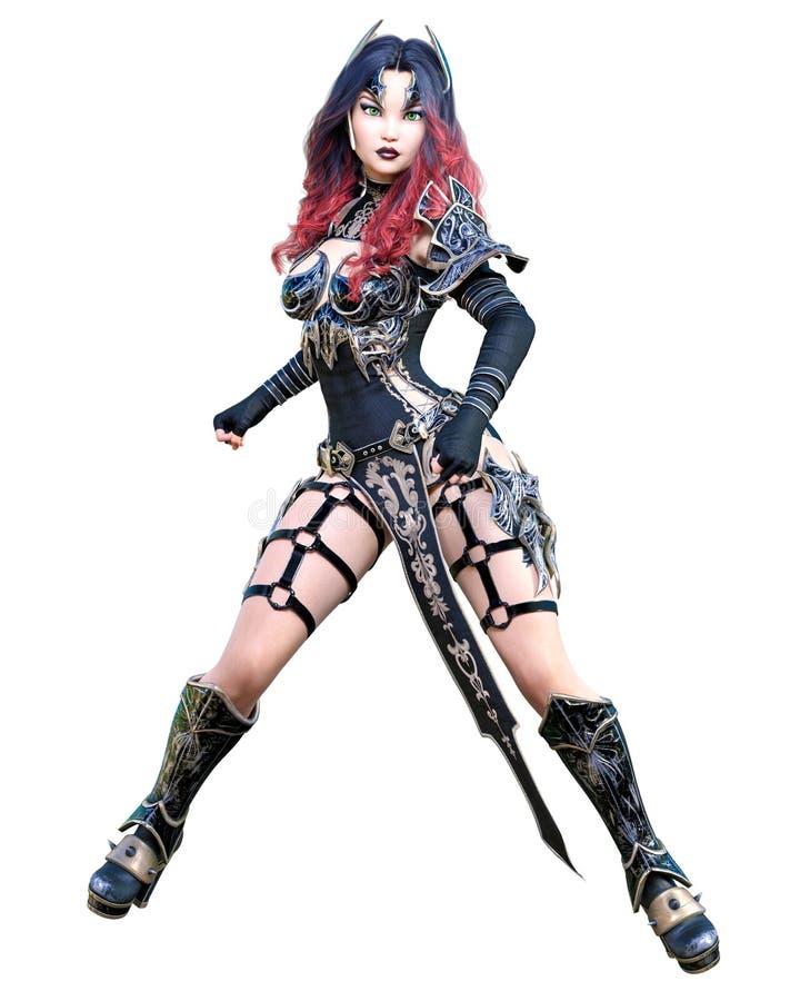 Mulher de amazon do guerreiro com a lâmina da espada e do metal ilustração do vetor