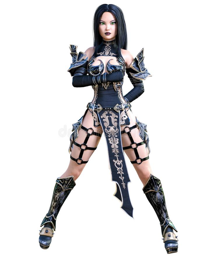 Mulher de amazon do guerreiro com a lâmina da espada e do metal ilustração stock