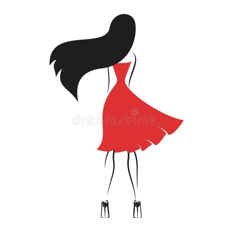 Mulher de atrás ilustração stock