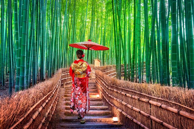 Mulher de bambu de Forest Asian que veste o quimono tradicional japonês na floresta de bambu em Kyoto, Japão